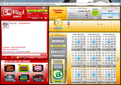 32 Red Bingo 75 Ball Game