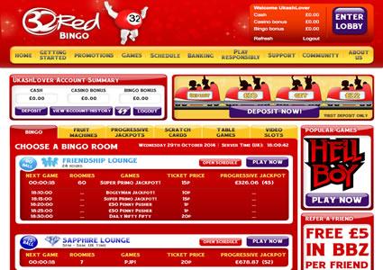 32 Red Bingo Lobby