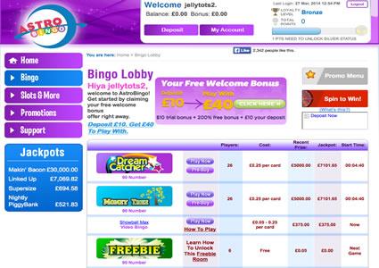 Astro Bingo Lobby