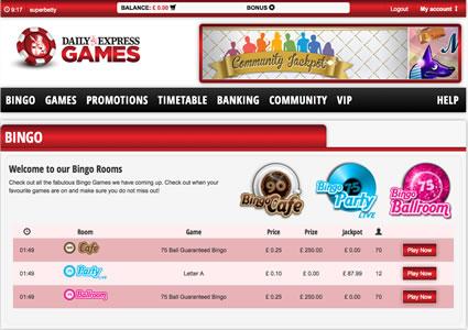 Daily Express Bingo Lobby