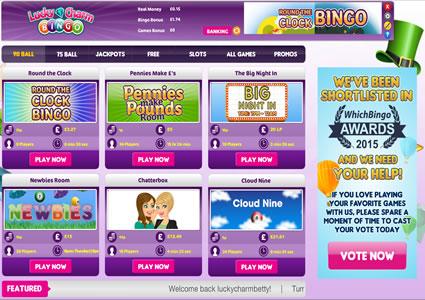 Lucky Charm Bingo Lobby