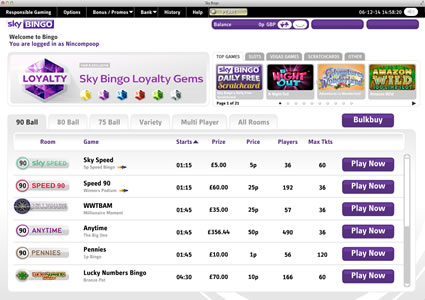 Sky Bingo Lobby