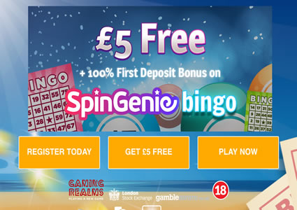 Spin Genie Bingo Homepage