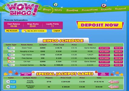 WOW Bingo Lobby